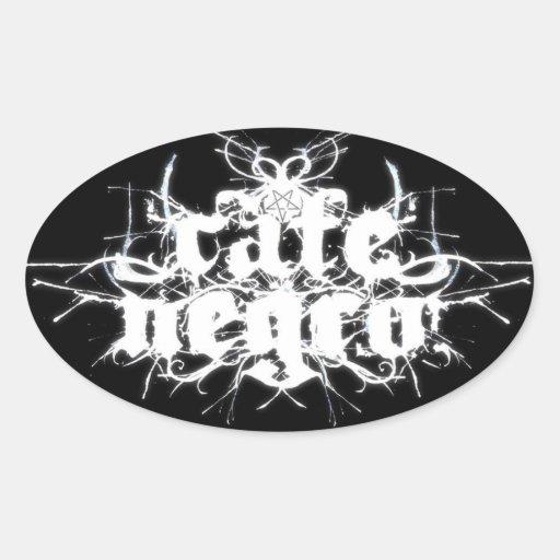 Pegatina del óvalo del Pentagram del negro del