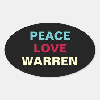 Pegatina del óvalo del VEDADO del amor de la paz