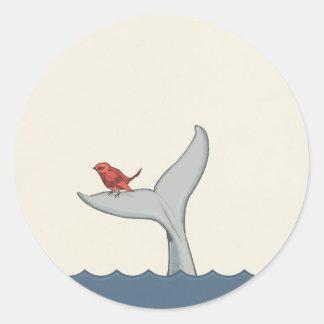 Pegatina del pájaro y de la ballena