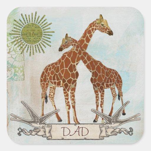 Pegatina del papá de las jirafas
