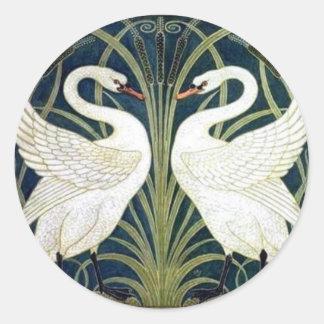 Pegatina del papel pintado del cisne y de la preci