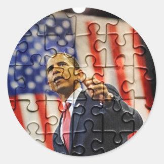 Pegatina del pedazo del rompecabezas de Obama