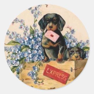 Pegatina del perrito de la flor del vintage