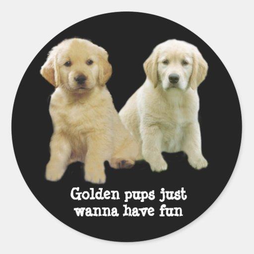 Pegatina del perrito del golden retriever