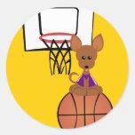 Pegatina del perro del baloncesto
