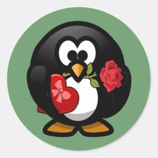 Pegatina del pingüino de la tarjeta del día de San