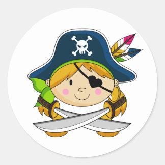 Pegatina del pirata del Eyepatch del chica