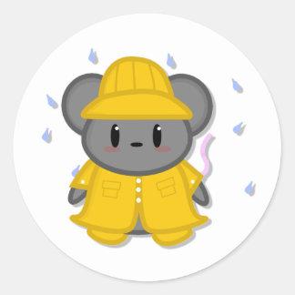 Pegatina del ratón del día lluvioso
