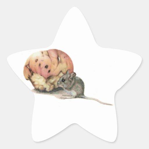 Pegatina del ratón y de la estrella de Apple