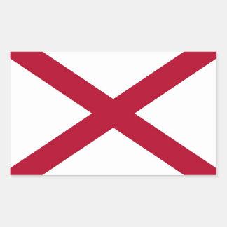 Pegatina del rectángulo con la bandera de Alabama,