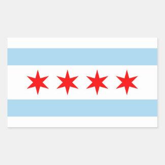 Pegatina del rectángulo con la bandera de Chicago,