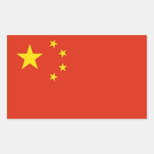 Pegatina del rectángulo con la bandera de China
