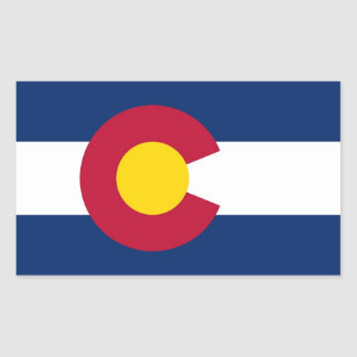 Pegatina del rectángulo con la bandera de Colorado