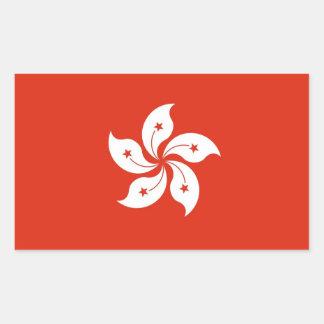 Pegatina del rectángulo con la bandera de Hong