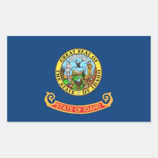 Pegatina del rectángulo con la bandera de Idaho,