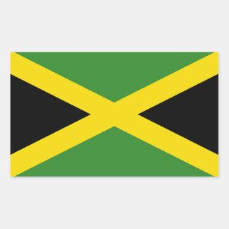 Pegatina del rectángulo con la bandera de Jamaica