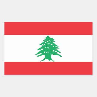 Pegatina del rectángulo con la bandera de Líbano