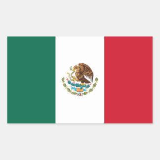 Pegatina del rectángulo con la bandera de México
