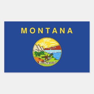 Pegatina del rectángulo con la bandera de Montana,