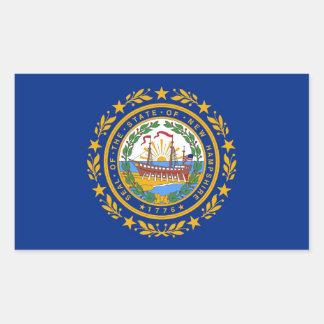 Pegatina del rectángulo con la bandera de New