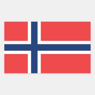 Pegatina del rectángulo con la bandera de Noruega