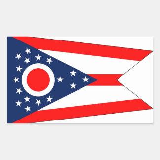 Pegatina del rectángulo con la bandera de Ohio,