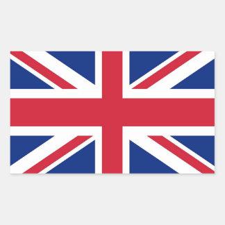 Pegatina del rectángulo con la bandera de Reino Un