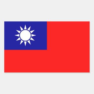Pegatina del rectángulo con la bandera de Taiwán