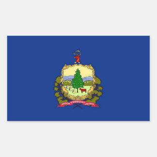 Pegatina del rectángulo con la bandera de Vermont