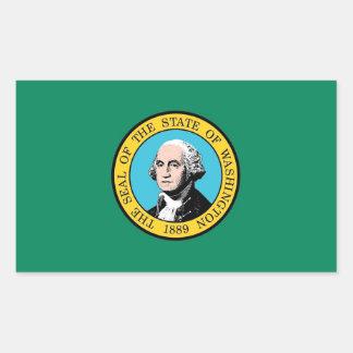 Pegatina del rectángulo con la bandera del estado