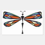 Pegatina del rectángulo de la libélula del vitral