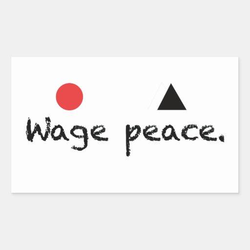Pegatina del rectángulo de la paz del salario