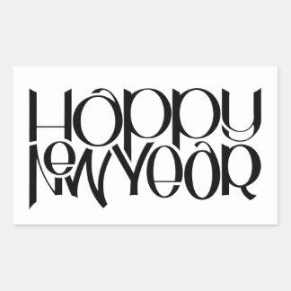 Pegatina del rectángulo del negro de la Feliz Año