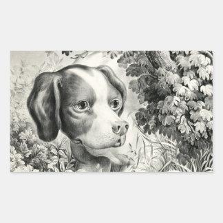 Pegatina del rectángulo del perro