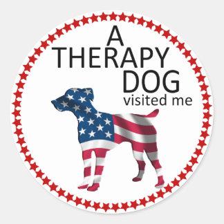 Pegatina del recuerdo del perro de la terapia