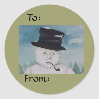 Pegatina del regalo del muñeco de nieve del navida