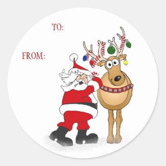 Pegatina del regalo del navidad del reno de Santa: