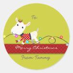 Pegatina del regalo del navidad (niño) de la cabra