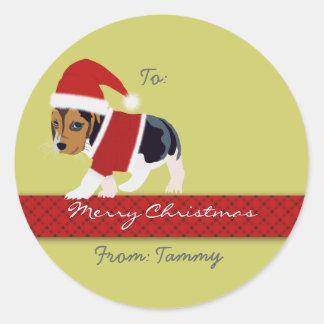 Pegatina del regalo del navidad (perro) -