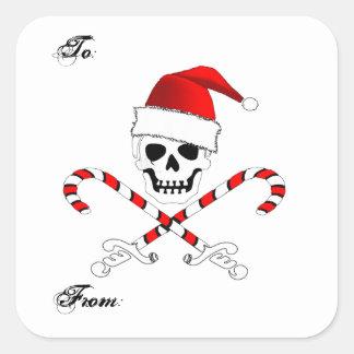 Pegatina del regalo del pirata del navidad