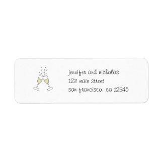 pegatina del remite de los vidrios del champán etiquetas de remite