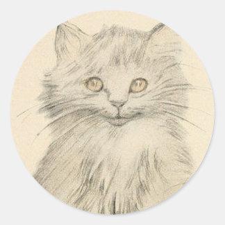 Pegatina del retrato del gato del dibujo de lápiz
