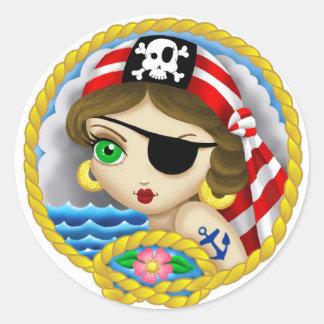 Pegatina del retrato del pirata