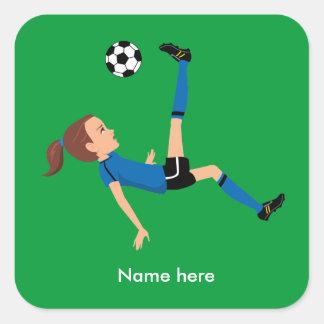 Pegatina del retroceso del fútbol del chica