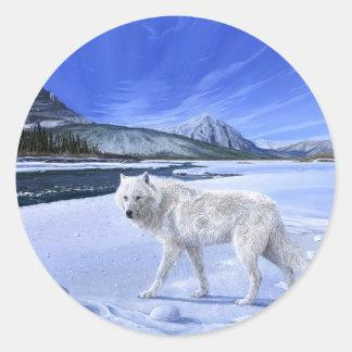 Pegatina del río del lobo blanco de la patrulla de
