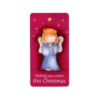 Pegatina del rojo de la paz del ángel del navidad etiqueta de dirección