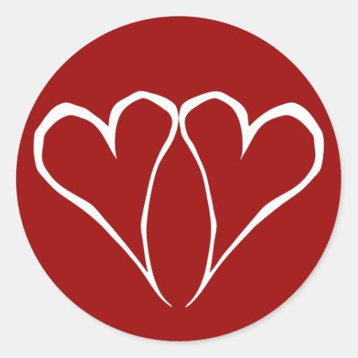 Pegatina del rojo de los corazones de la tarjeta