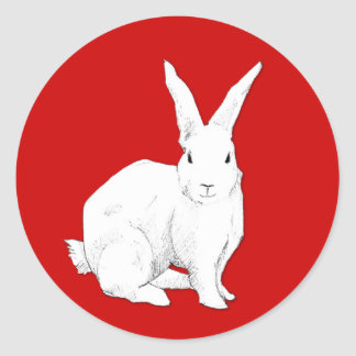 Pegatina del rojo del conejo