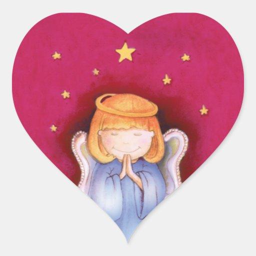 Pegatina del rojo del corazón del ángel del