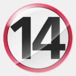 Pegatina del rojo del número 14